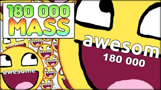 180 000 AGARIO MASS! THE BIGGEST CELL EVER - AS BIG AS THE MAP (MOST ADDICTIVE GAME - AGAR.IO #34)