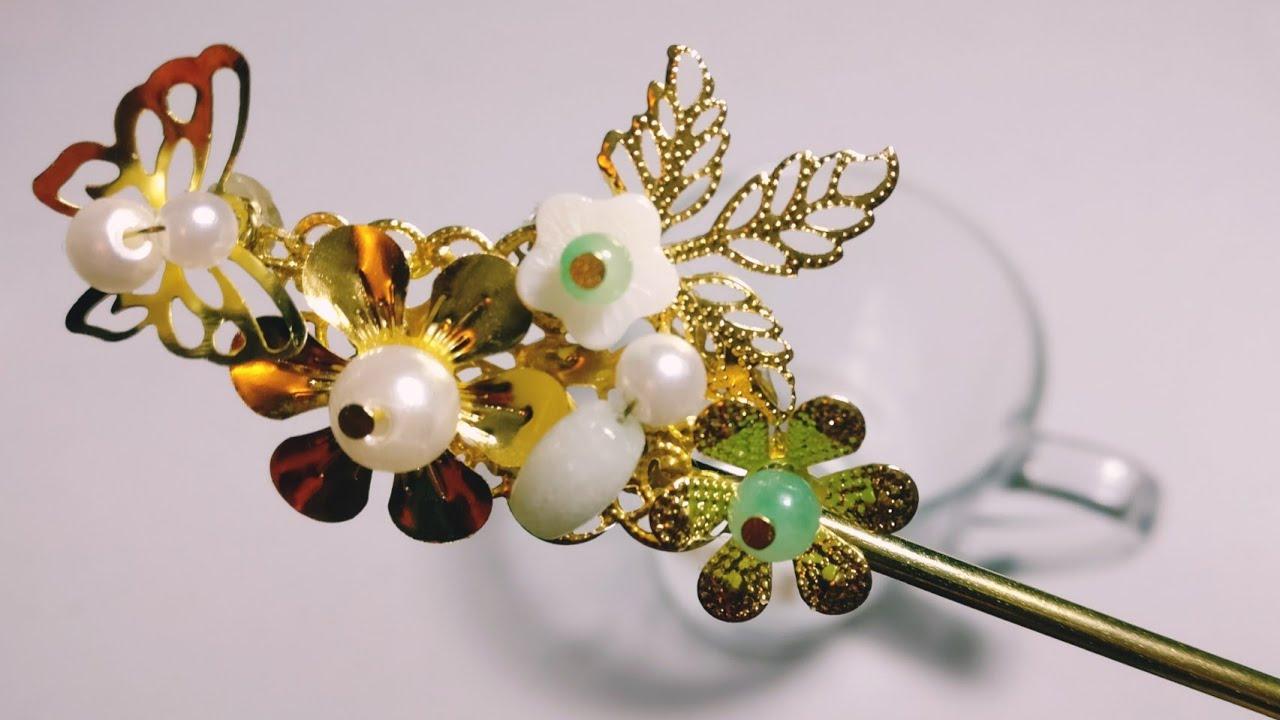 DIY Tutorial - Chinese hair accessories Golden hair stick ...