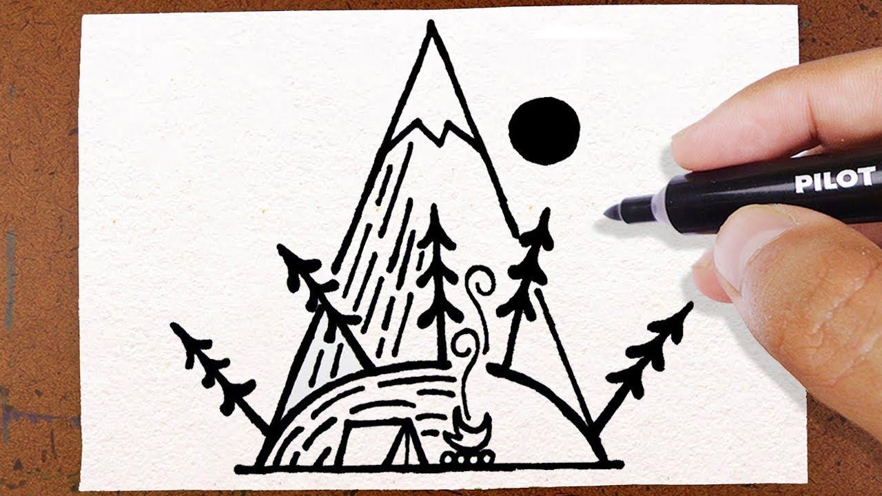 Como Desenhar Cabana Montanha Tatuagem How To Draw Desenho Facil
