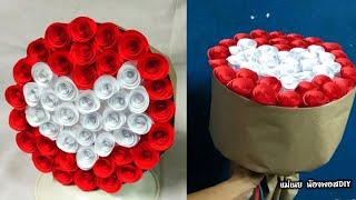 DIY สอนทำช่อดอกไม้กระดาษรูปหัวใจต้อนรับวาเลนไทน์#2 / แม่เนย น้องพอสDIY