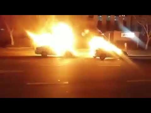 Two Uber taxi burn down in sandton Johannesburg