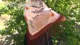 How To Tie a Shawl завязывать Павловопосад платок Posad(http://puh-platok.ru/ интернет магазин платков и шалей Красивый Павловопосадский платок шерстяной