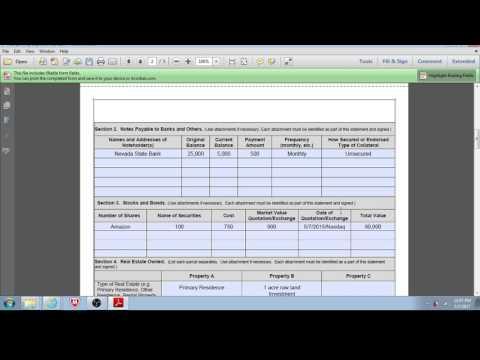 SBA Loan - Preparing Personal Financial Statement