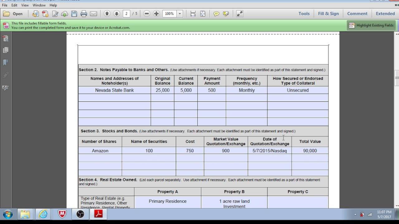 SBA Loan - Preparing Personal Financial Statement - YouTube