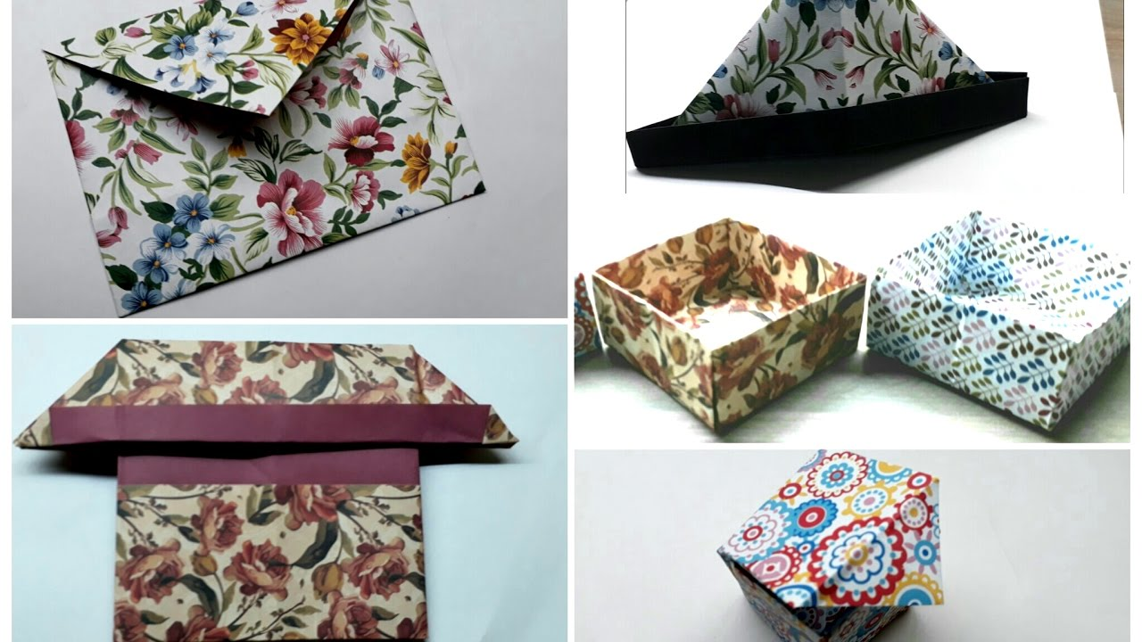 Craft hat boxes - Best 5 Origami Crafts Simple And Easy Paper Craft Quick And Fast Origami Envelope Boxes Hat