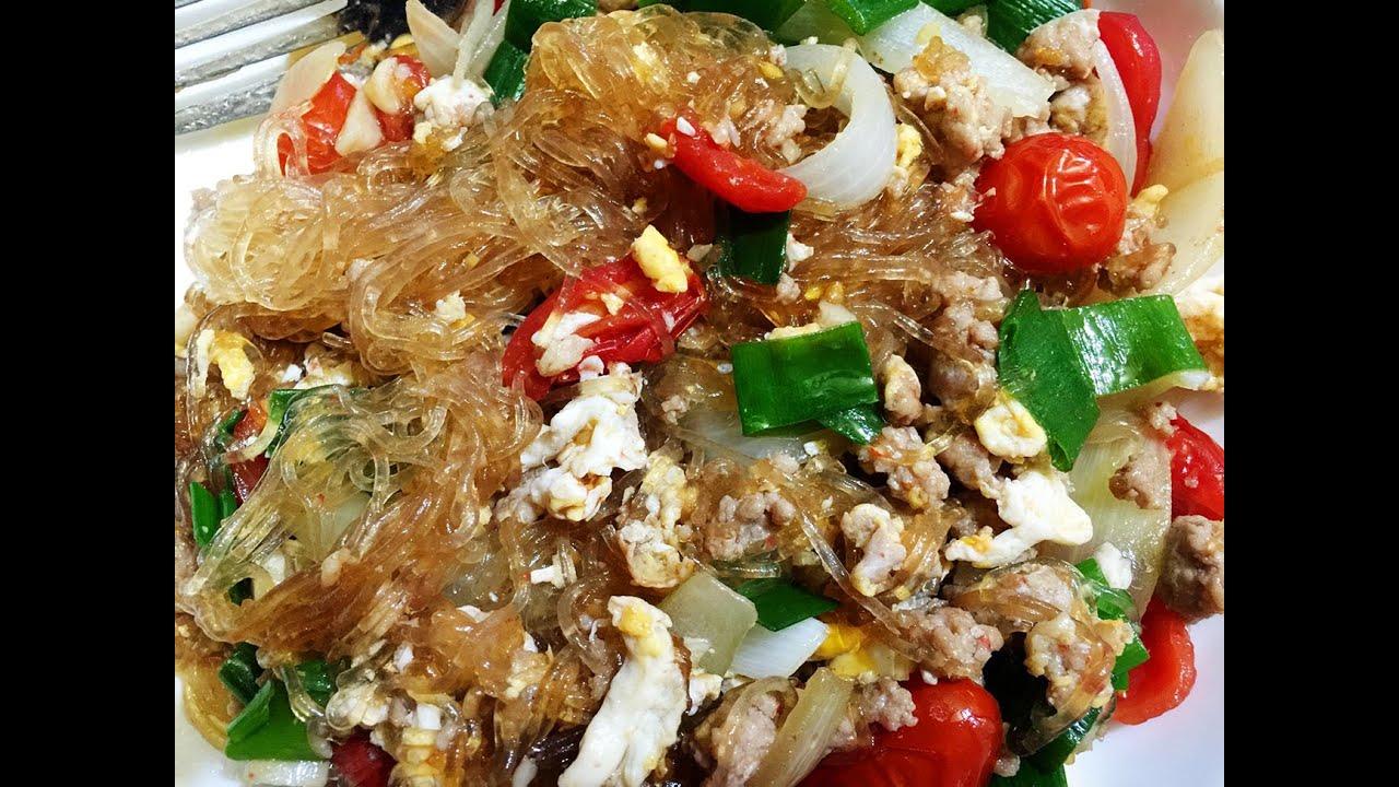 Glass Noodles Stir-Fry with Ground Pork Recipe