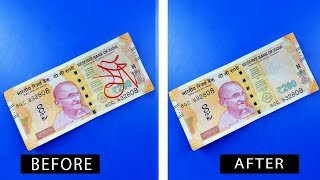 How to Remove paper currency Mark at home | Make Gadget