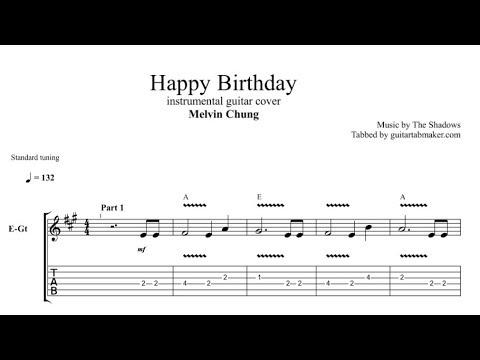 Happy Birthday Tab Guitar Instrumental Tab Pdf Guitar Pro Youtube