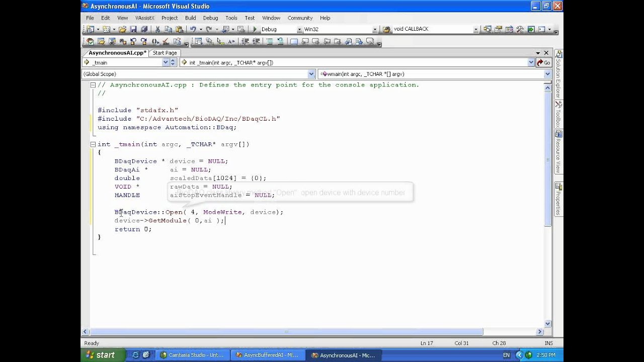 Programming with Advantech's DAQNavi using C++ Console/ MFC
