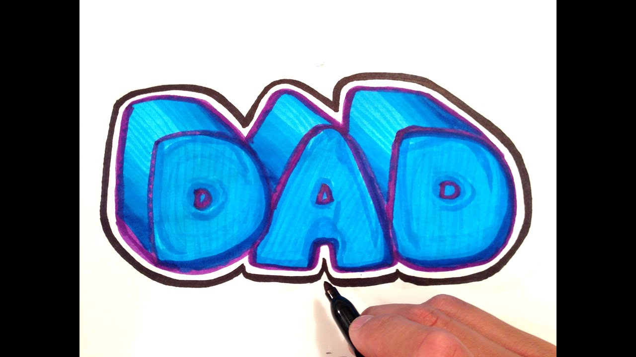 how to draw dad in 3d bubble letters with outline