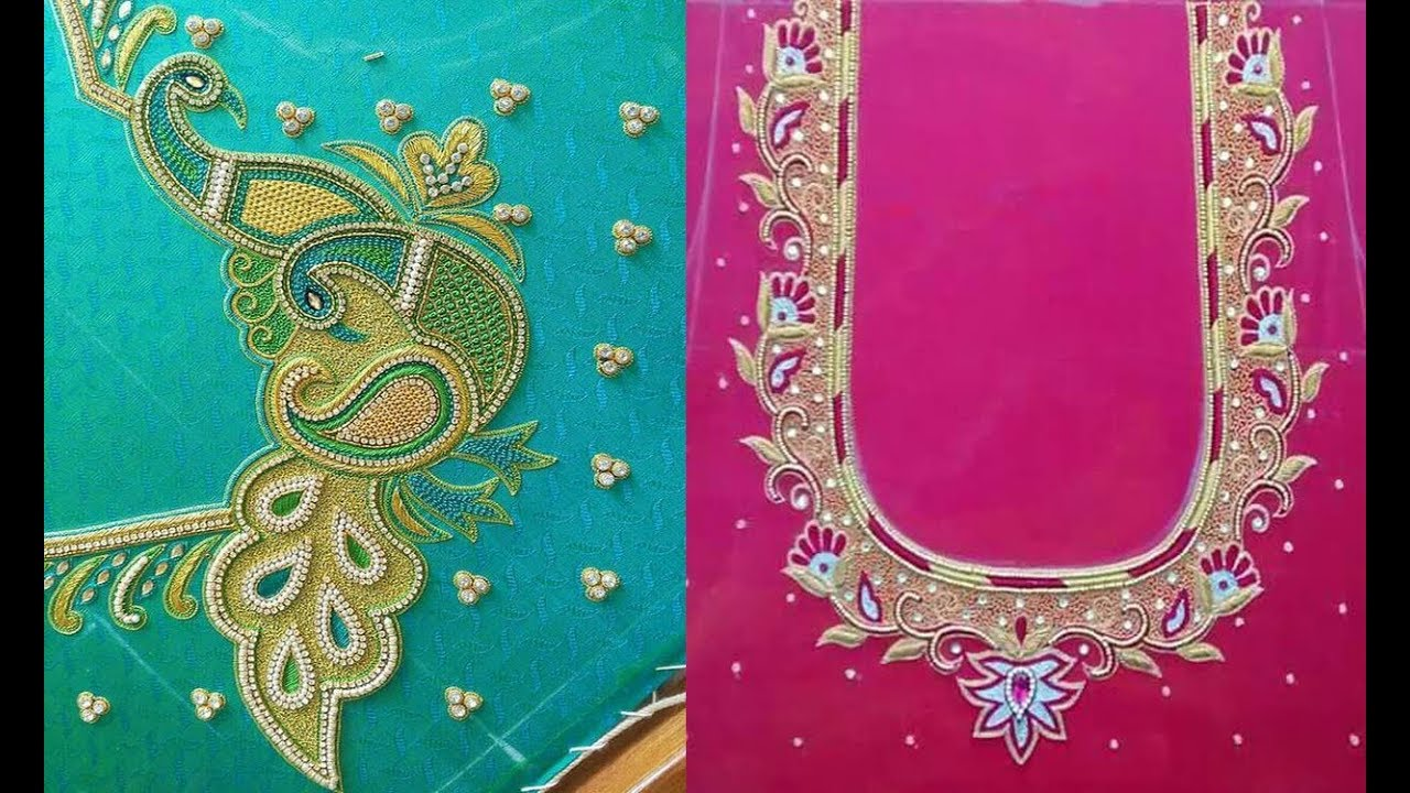 Embroidery Work Blouse Designs For Silk Saree Blouse Neck Designs