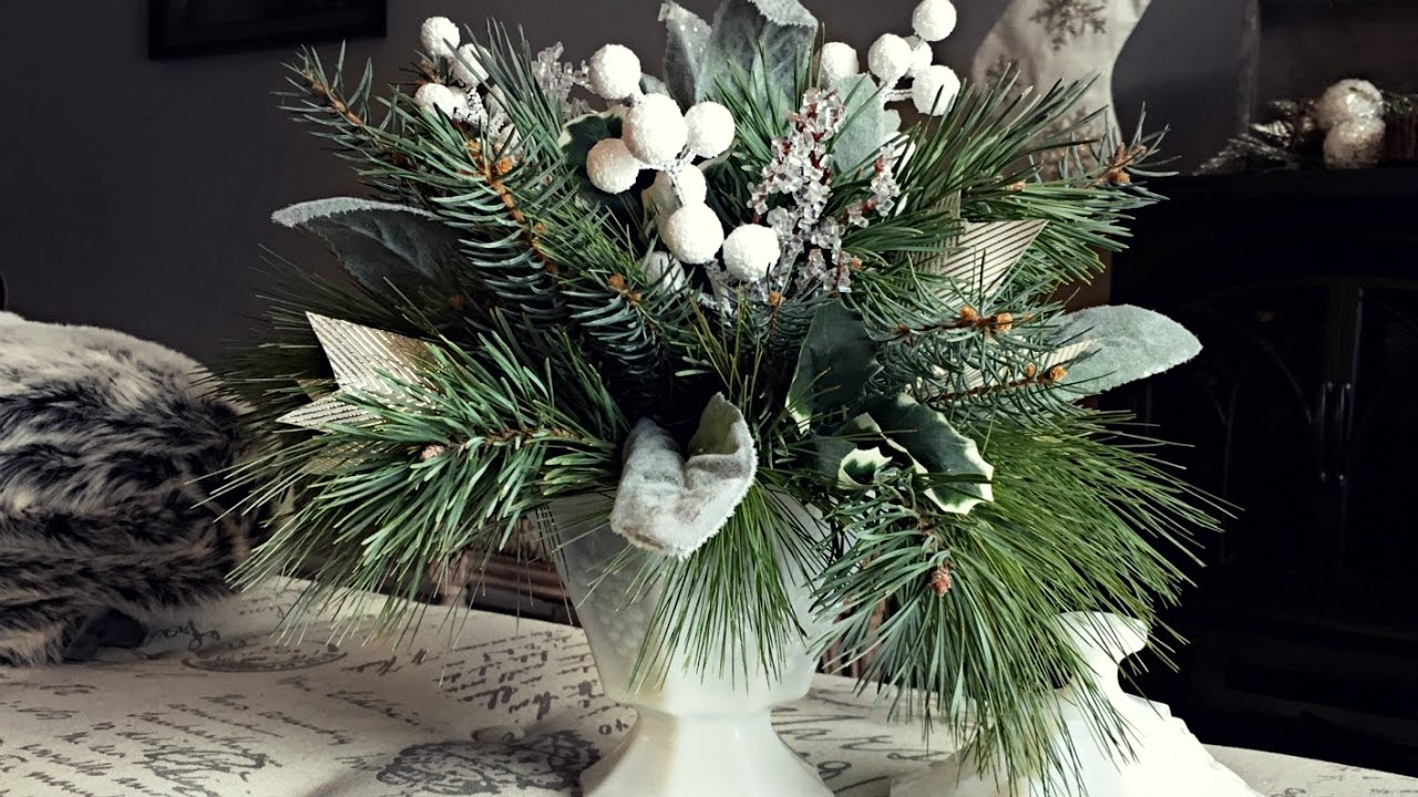 Christmas Flower Arrangements.White Gold Pine Christmas Centerpiece Pine Floral Arrangement Christmas Decorating