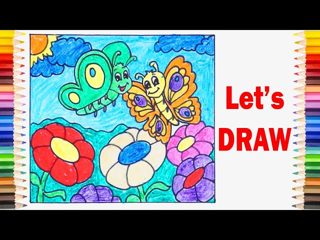 Draw BUTTERFLIES and FLOWERS Easy ! How to Draw and Coloring for Children