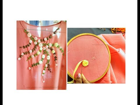 Satin ribbon rose designing on  Churidar / Kurti | Hand Embroidery stitches