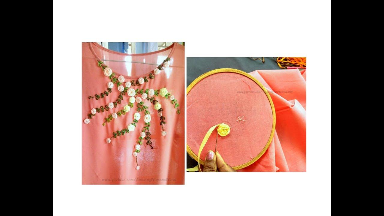 Satin ribbon rose designing on churidar kurti hand