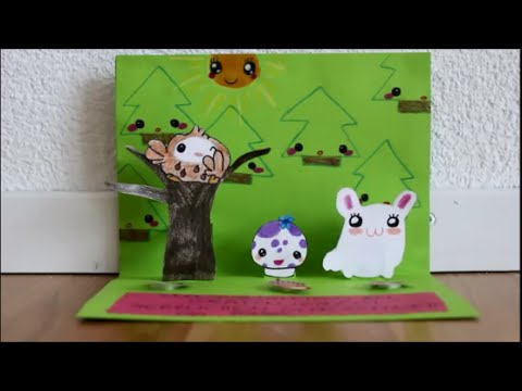 Pop Up Karte mit Kawaii Figuren basteln / Eule Hase Pilz Wald *Basteln ...