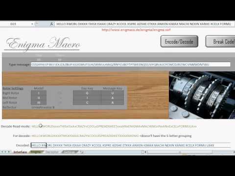 Enigma Machine Spreadsheet