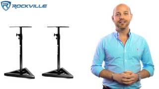 ROCKVILLE RVSM1 PAIR OF NEAR-FIELD STUDIO MONITOR STANDS W/ ADJUSTABLE HEIGHT