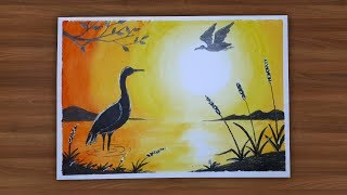 Beautiful Sunset Scenery With Wax Crayons Colors || Draw For Kids