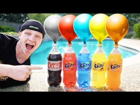 500 WATER BALLOONS vs COKE AND MENTOS EXPLODING!