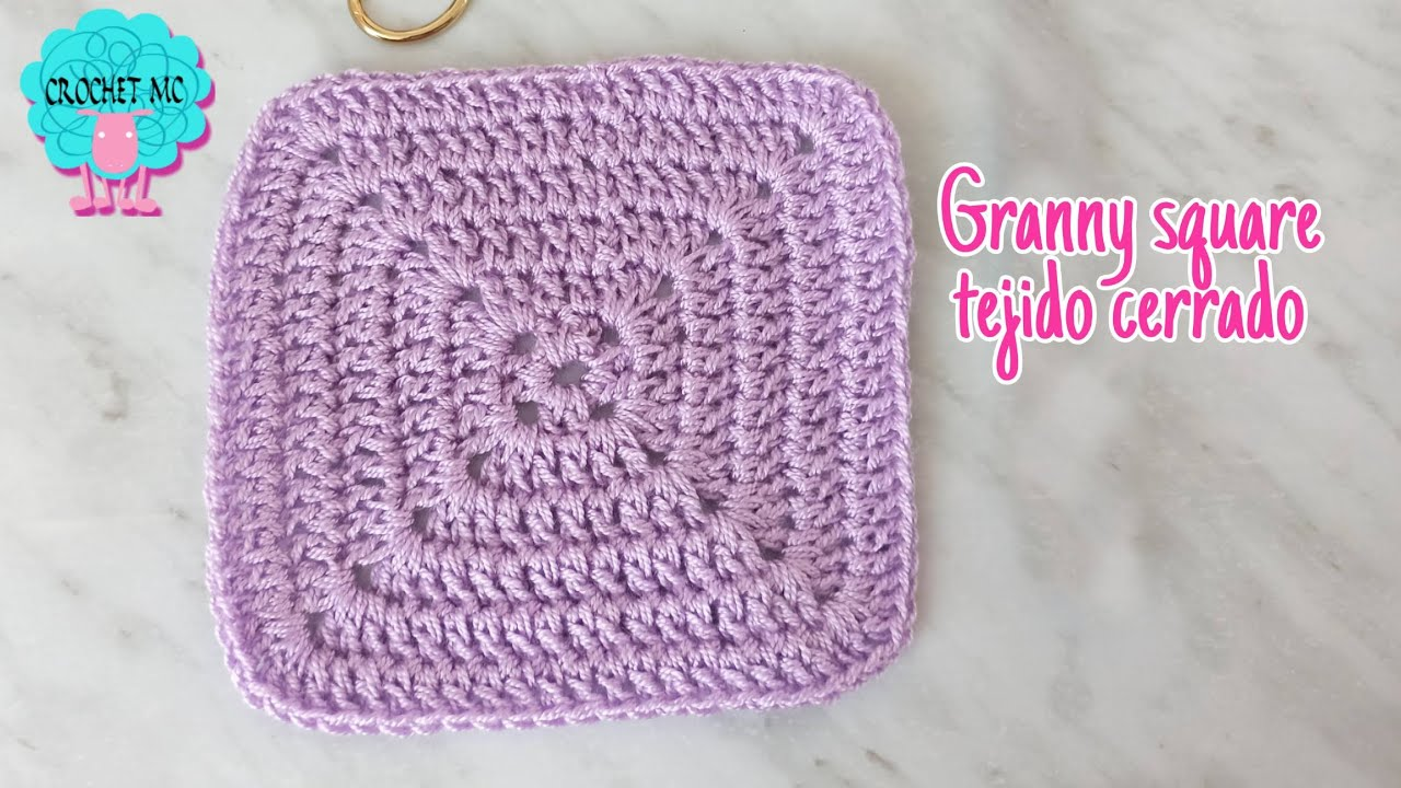 Granny square sólido a crochet - cuadrado básico