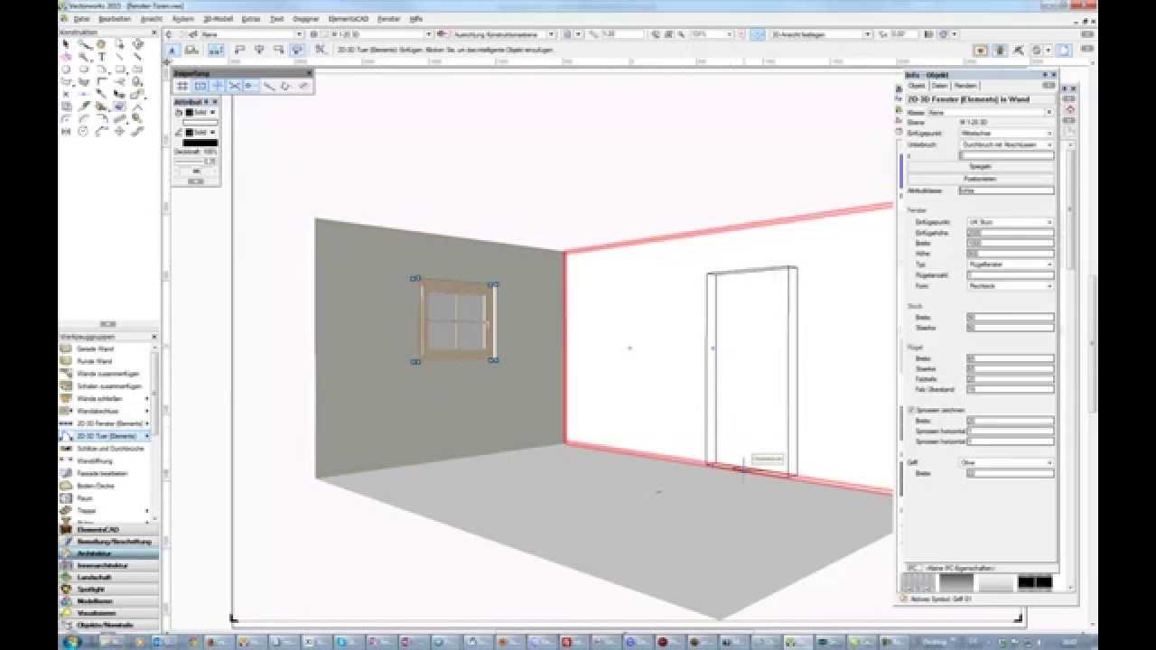 vectorworks fenster tuer einsetzen youtube. Black Bedroom Furniture Sets. Home Design Ideas