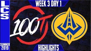 100 vs GGS Highlights   LCS Summer 2019 Week 3 Day 1   100 Thieves  vs Golden Guardians