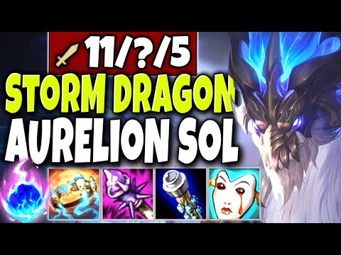 *Most OP* Storm Dragon Aurelion Sol New Skin 🔥 LoL TOP Lane Aurelion Sol PBE s10 Gameplay
