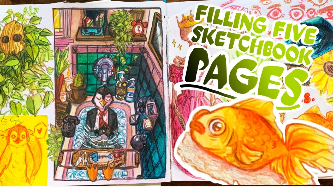 ☕️ SKETCHBOOK SESSION #2 || 🐧🌿 Defeating the Rejected Pages in My Sketchbook (GoNE WrOnG?!1!!)