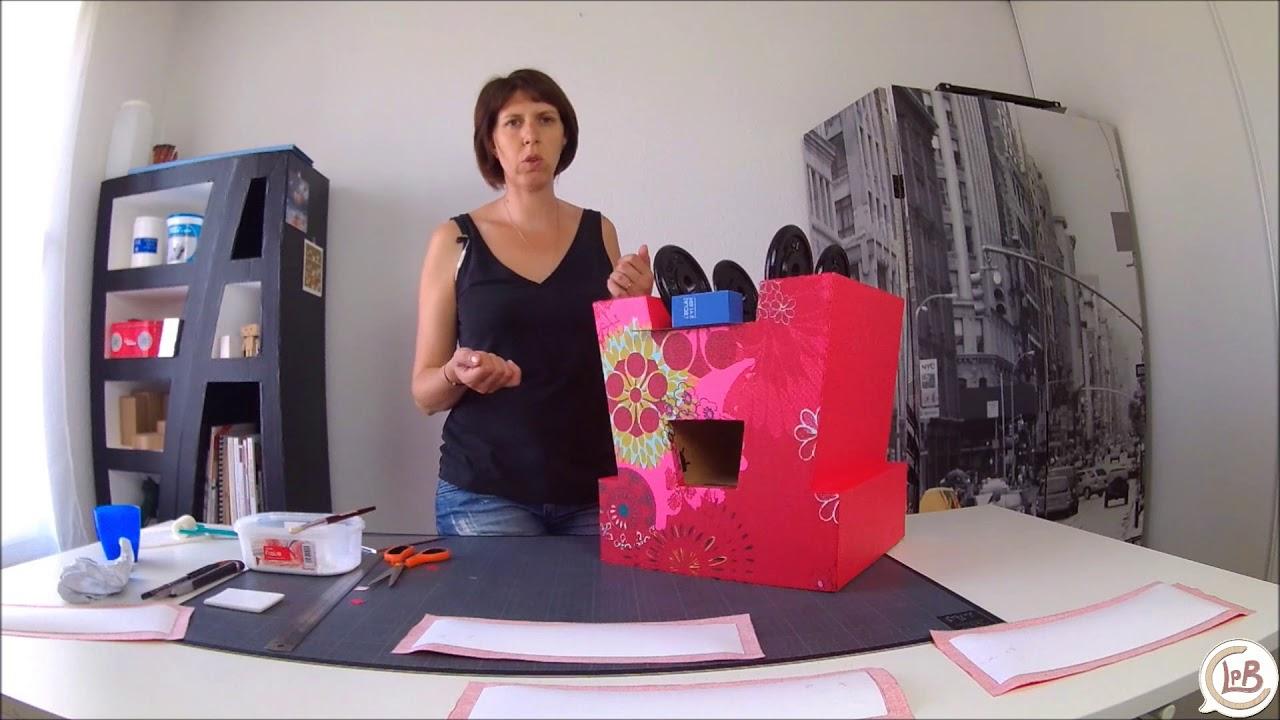 Tuto gratuit d corer un meuble en carton avec du tissu enduit 2 2 youtube - Decorer un meuble ...