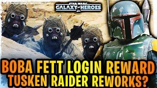 Boba Fett Confirmed SWGoH Login Reward - Tusken Raid Reworks Incoming? (Mandalorian Season 2)