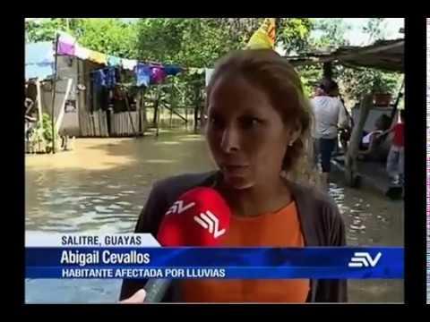 Intensas lluvias inundan 70% del cantón Salitre