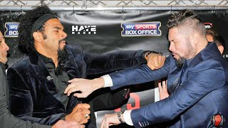 David haye punches tony bellew during heated face off! haye vs. bellew full face off video