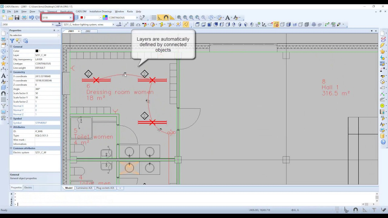CADS Electric 17 - Drawing wiring in Installation drawings - YouTube
