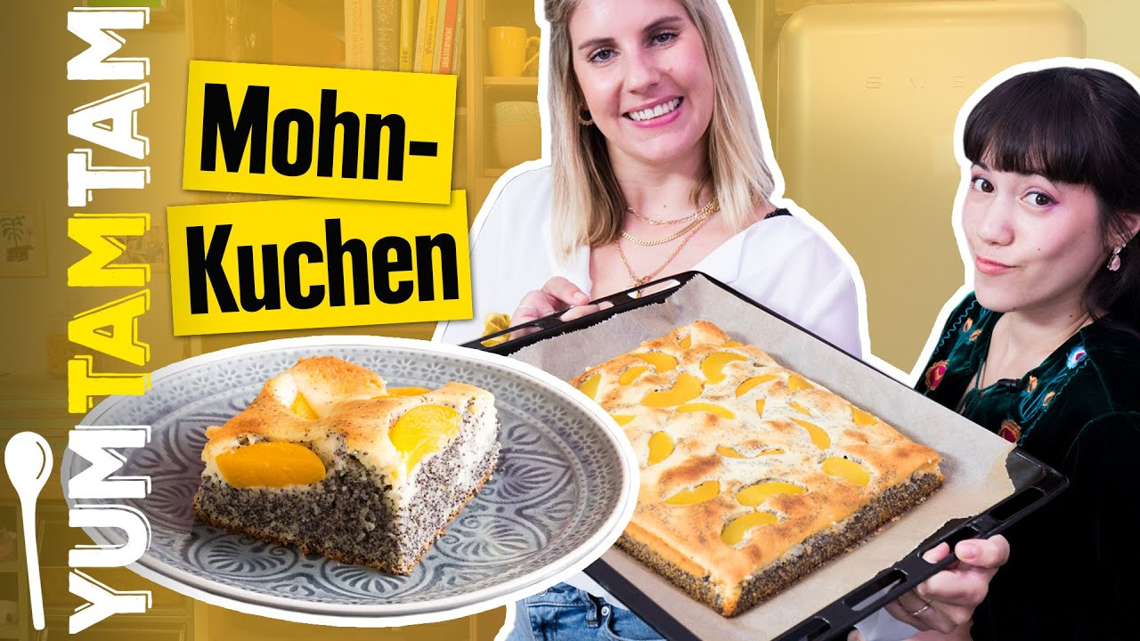 Mohnkuchen vom Blech // Mit Quark und Pfirsichen // #yumtamtam