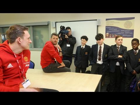 Michael Carrick and Phil Jones visit Loreto High School - #SchoolsUnited