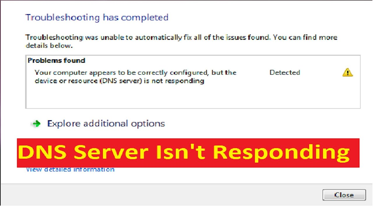 Fix DNS Server Not Responding Error For Windows