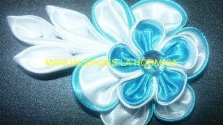 Como Hacer Flores Dobles Kanzashi En Tela, How To Make Double Kanzashi Flowers In Fabric,