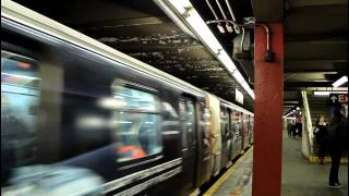 IND Subway: Ad-Wrapped R160 (F) Train Departs W. 57th Street