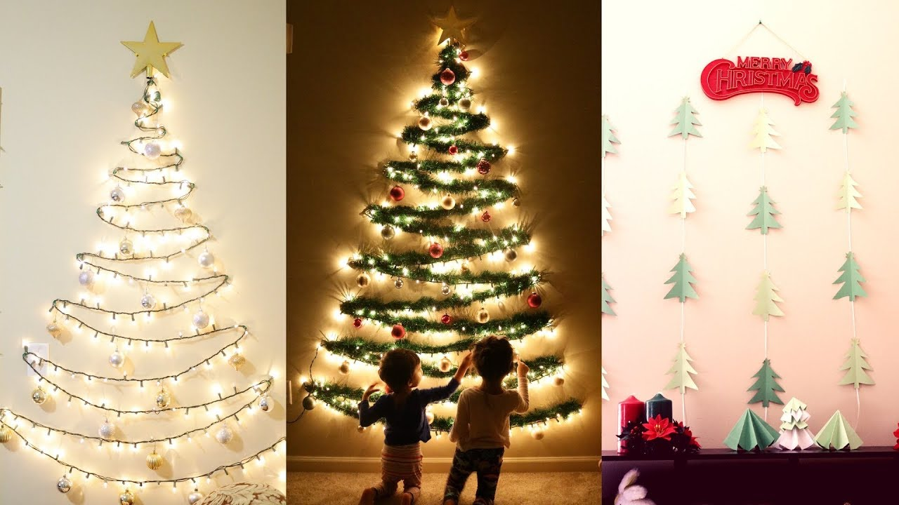 diy christmas decor diy wall mounted christmas trees mytwolittlesunshines youtube. Black Bedroom Furniture Sets. Home Design Ideas