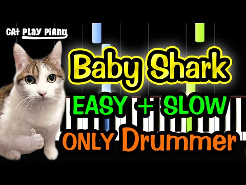 Baby Shark - Piano Tutorial Easy SLOW [ONLY Drummer] + Free Sheet Music PDF thumbnail