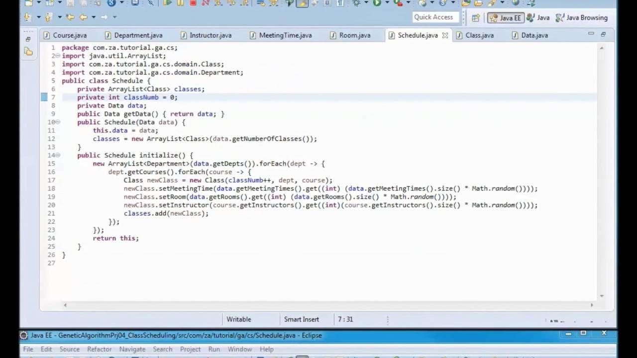 Genetic Algorithms Tutorial 04 Class Scheduling Java Application