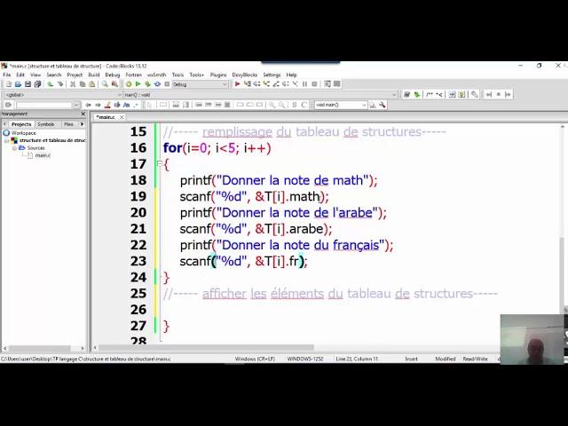 Langage C Cours 6 Structures Et Tableau De Structures Youtube