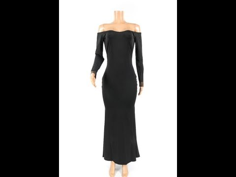 Spring New Solid Color Long-Sleeves Fishtail Evening Dress Wholesale