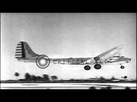 US Army Air Corps Douglas XB-19 aircraft takes off from an airfield in the United...HD Stock Footage
