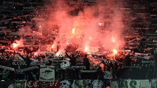 C3 Manchester United - Saint Etienne Ambiance, cortege and pyro