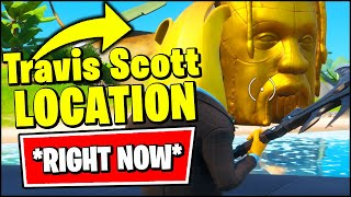 *NEW* Fortnite TRAVIS SCOTT Location - THE STAGE & GIANT GOLDEN ASTRO HEADS GAMEPLAY & MAP CHANGES