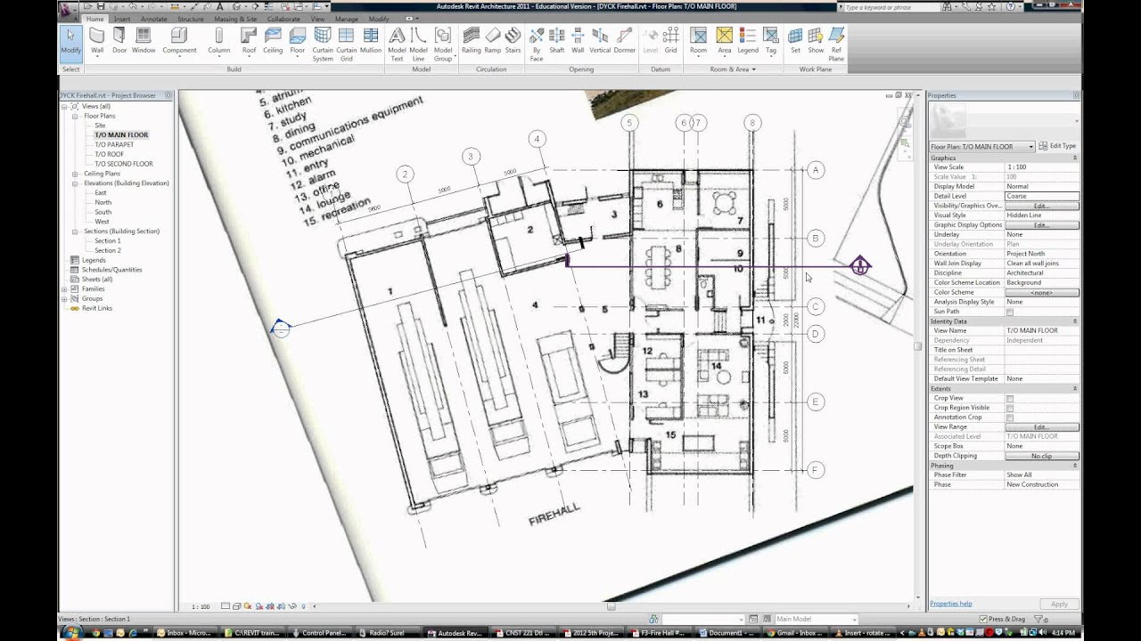 Drawing Floor Plans 021 Tutorial How To Work With Angled Grid Lines In Revit