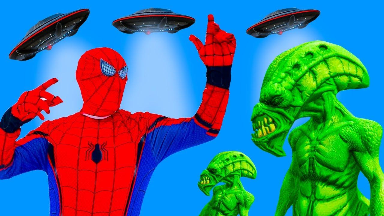 Team Hulk vs Siren Head Team | Spider-Man vs Aliens UFO 13+