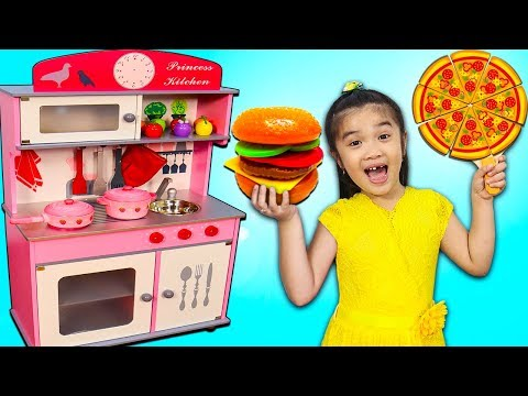 Hana Pretend Play Cooking w/ Princess Kitchen & Food Toys Play Set for Kids